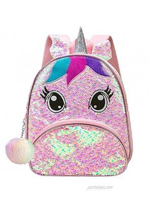 """Toddler Backpack for Girls 12"""" Unicorn Sequin Bookbag"""