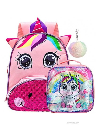 Toddler Backpack for Girls 12 Unicorn Sequin Bookbag and Lunch Box