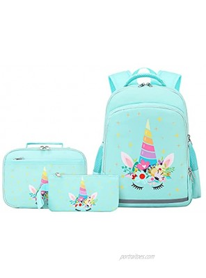 Unicorn Backpack for Girls Kids Backpacks Toddler Bookbags with Lunch Box Pencil Bag 3 in 1 Sets School Bags for Age 3+ Green Unicorn