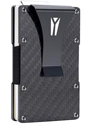 Carbon Fiber Wallet RFID Blocking Anti-theft Minimalist Convenient Pullout Tab Credit Card Holder for Women Men