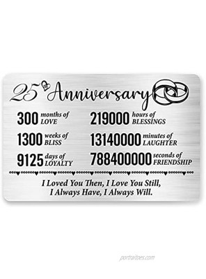 25th Anniversary Card for Husband Wife 25 Year Anniversary Card for Him Her Anniversary Engraved Wallet Card Inserts