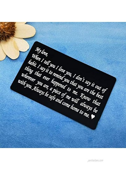 Engraved Wallet Inserts Card Anniversary Wedding Gifts for Husband Wife Valentines Day Gift for Boyfriend Girlfriend Christmas Birthday Gifts for Men Women Love Note Card Deployment Gifts for Men