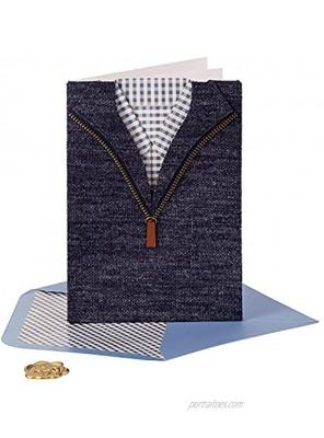 NIQUEA.D Happy Birthday Card Fabric Checkered Shirt NB-0051
