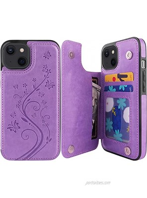 Pretocter for iPhone 13 Wallet Case with Card Holder Butterfly Flower Embossed Faux Leather Kickstand Card Slots Case Handmade Shockproof Protective Slim Soft Flip Phone Case 2021 6.1 Purple