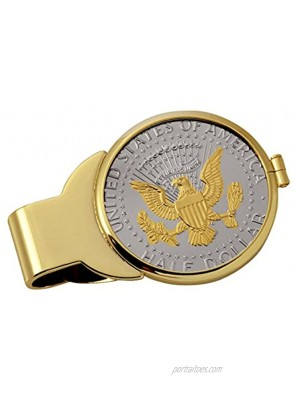 Coin Money Clip Presidential Seal JFK Half Dollar Selectively Layered in Pure 24k Gold   Brass Moneyclip Layered in Pure 24k Gold   Holds Currency Credit Cards Cash   Genuine U.S. Coin