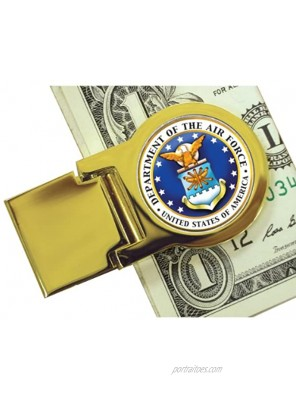 Coin Money Clip Washington Quarter Colorized with the Air Force Emblem | Brass Moneyclip Layered in Pure 24k Gold | Holds Currency Credit Cards Cash | Genuine Coin | Certificate of Authenticity