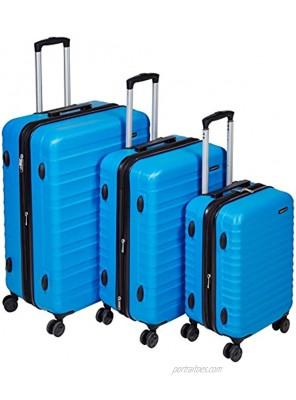 Basics Hardside Spinner Carry-On Expandable Suitcase Luggage with Wheels Blue 3-Piece Set
