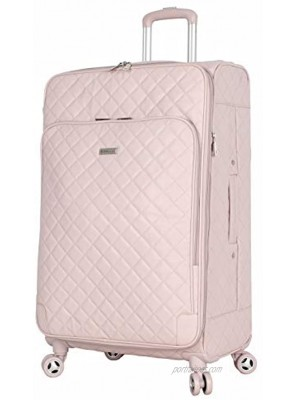 BCBGeneration Designer Luggage Collection Expandable 24 Inch Softside Suitcase Lightweight Midsize Checked Bag with 8-Rolling Spinner Wheels 24in Quilt Pink