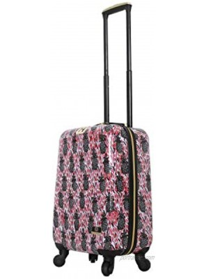 """HALINA Bouffants & Broken Hearts Pineapples 24"""" Hard Side Spinner Luggage Multicolor One Size"""