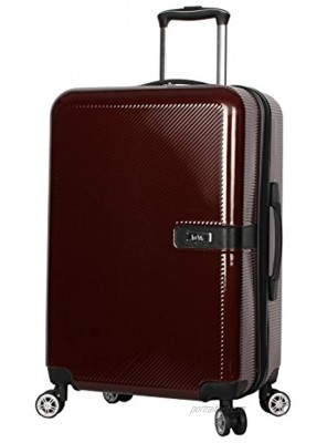 Nicole Miller New York Ria 24 Inch Luggage Collection Scratch Resistant ABS + PC Hardside Bag- Lightweight Suitcase with 8-Rolling Spinner Wheels 24 in Ria Burgundy