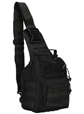 Canvas Sling Bag for Men Small MOLLE Chest Sling Backpack Mens One Strap Messenger Bag Water-resistant Handbag Outdoor Sports Travel Crossbody Shoulder Pack Bag Daypack for TravellingCycling Hiking