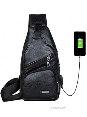 Chest Bags for Mens Women Anti-Theft Sling Shoulder Backpack PU Leather Crossbody Sling Purse with USB Charging Port for Business Casual Travel SportChest Sling Bag for Black