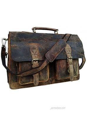 cuero Retro Buffalo Hunter Leather Laptop Messenger Bag Office Briefcase College Bag 18 inch