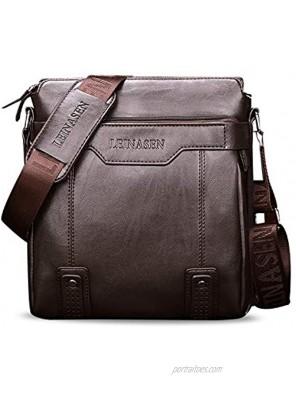 FANDARE Men Shoulder Bag Business Crossbody Bag PU Messenger Bag Waterproof Satchel Bag Dark Brown