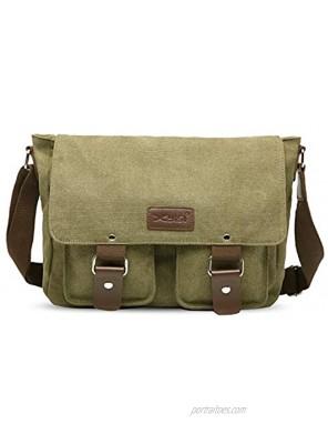 FANDARE Vintage Crossbody Bag Unisex Canvas Messenger Bag 7.9 inch iPad Satchel Bag Travel Shoulder Bag Working Bag Bookbag Briefcase for Men and Women ArmyGreen