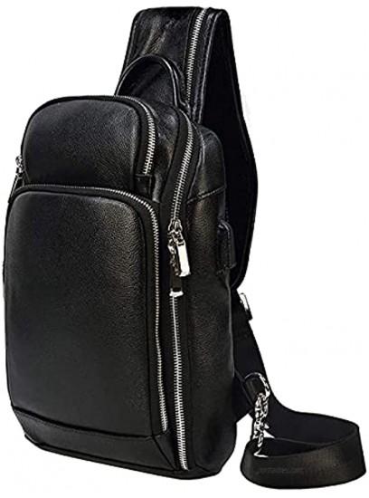 LUUFAN Vintage Mens Genuine Leather Sling Chest Bag Crossbody Backpack Shoulder Daypack With USB Charging Port For Sport Hiking Travel School