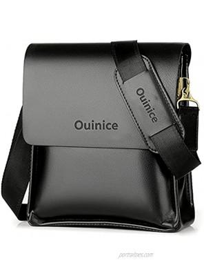Men's Messenger Bags Leather Shoulder Bag Crossbody Business Bag Casual Portable Briefcase 10 inch tablet ipad Bag with Adjustable Shoulder Strap