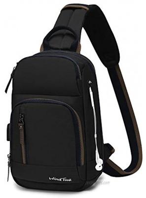 Wind Took Sling Bag Chest Shoulder Backpack Crossbody Bag Lightweight Outdoor Sport Travel Daypacks with USB Charging Port for Women Man 32 x 12 x 21 cm