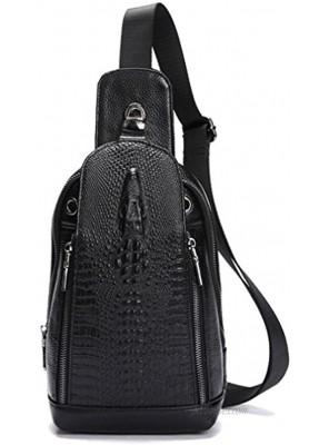 Xieben Vintage Leather Sling Chest Bag Crossbody Pack for Men Women Travel Outdoor Shoulder Pack Backpack Daypack