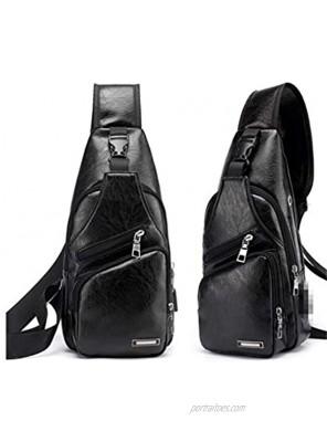 ZYYXB Sling Bag Chest Bag PU Leather Shoulder Backpack Cross Body Bag Messenger Bag for Men Women Lightweight Hiking Travel Backpack,Black