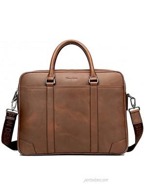 BISON DENIM Men's Classic Genuine Leather Briefcase Laptop Shoulder Messenger Bag Business Tote Size: One Size