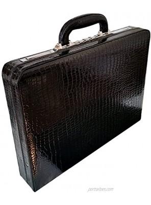 Genuine Leather Croc Finish Unisex Slimline Executive Attache Case Briefcase