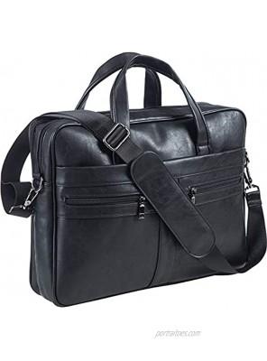 Men's Leather Messenger Bag 15.6 Inches Laptop Briefcase Business Satchel Computer Handbag Shoulder BagBlack