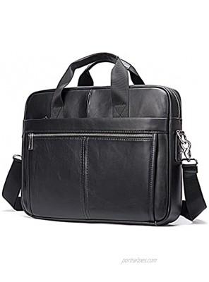 SPAHER Elegant Men 15.6 Inches Leather Briefcase Business Work Laptop Handbag Shoulder Bag Messenger Satchel Top-handle Travel Bag with Removable Strap for Notebook MacBook Black