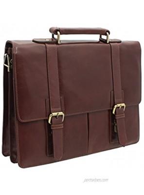 Visconti Bennett Vintage Tan Leather Briefcase VT6