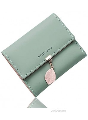 Roulens Small Wallet for Women RFID Blocking PU Leather Leaf Pendant Card Holder Organizer Zipper Coin Purse