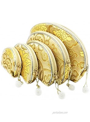 Brocade Embroidered Bag 5 pc Zipper Bag Coin Purse Jewelry Pouch   Gifts For Women   Golden Amy Product   Gold