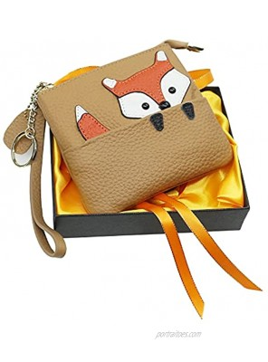 Cute Fox Ultra-thin Coin Purse,100% Soft Genuine Leather Change Purse Wallet with Keychain and Zipper for Women light yellow