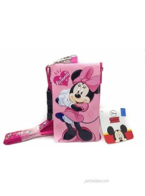 Disney Lanyard with ID Badge Holder Wallet Coin Purse Ticket Key Chain Minnie Mouse Pink 5.50 x 3.0