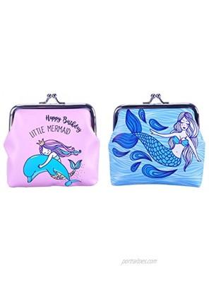 Oyachic 2Pack Mermaid Coin Purse Animal Change Pouch PU Clutch Wallet Kiss Lock Clasp Handbag Buckle Cash Bag Trinkets Pouch for Girl Women