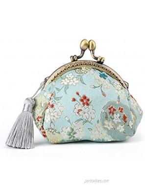 Oyachic Coin Purse Buckle Clasp Purses Kiss Lock Bag Vintage Pouch Girl Change Purse Clasp Handbags Flower Wallets for Women