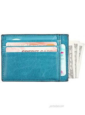 Banuce Top Grain Leather Card Holder for Women Men Unisex ID Credit Card Case Slim Card Wallet Blue