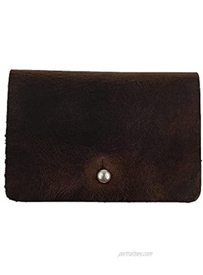 Hide & Drink Leather Card Holder Holds Up to 4 Cards Plus Folded Bills & Coins Pouch Case Purse Cash Handmade :: Bourbon Brown