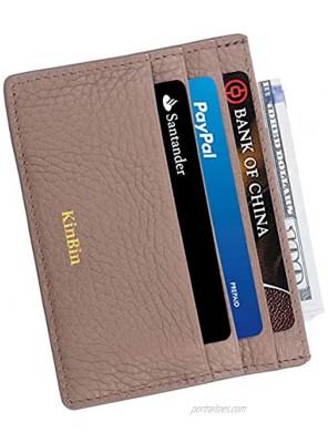 Leather Credit Card Holder Slim RFID Blocking Card Case Wallets Minimalist Front Pocket for Women Men Charcoal Gary…