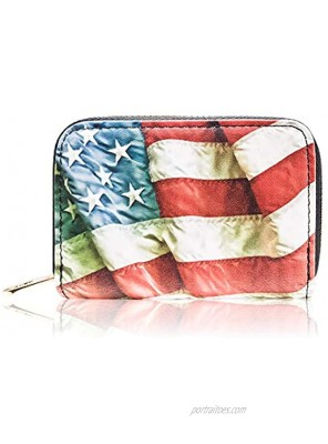 RFID Wallets for Women and Men Leather Credit Card holder Zipper Accordion Wallet