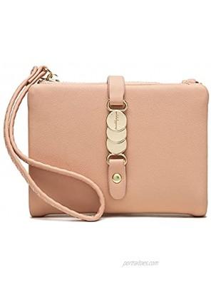 Belsmi Women's Small Compact PU Leather Slim Wallet Lady Purse Zipper Pocket Card Organizer Bifold Wallets Style 4 Pink