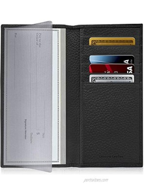 Genuine Leather Checkbook Cover For Women & Men Checkbook Holder Check Book Covers For Duplicate Checks Card Wallet RFID