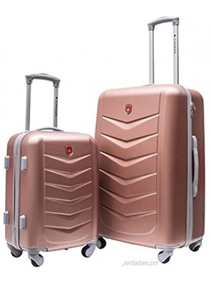 Jetstream Canada Collection 26 Inch and 18 Inch Hardside Carry On 2 Piece Luggage Set with Spinner Wheels Lightweight ABS Suitcase Rose Gold