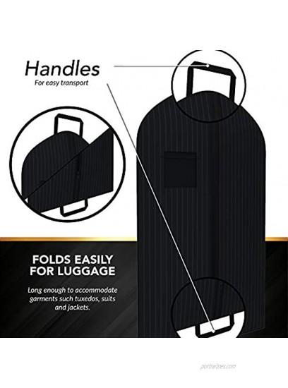 Black Suit Garment Travel Bags -ID Tag Window Durable Heavy Duty Lightweight