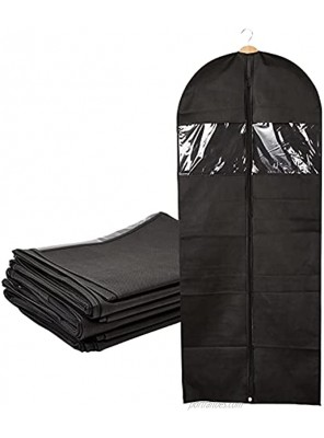 Garment Bags for Dresses Black Suit Cover with Zipper and Window 24x60 In 6 Pack