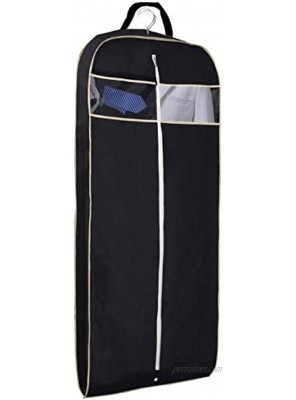 MISSLO 43 Gusseted Travel Garment Bag with Accessories Zipper Pocket Breathable Suit Garment Cover for Shirts Dresses Coats Black