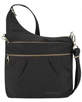 Travelon: Anti-Theft Signature 3 Compartment Nylon Crossbody Bag Black