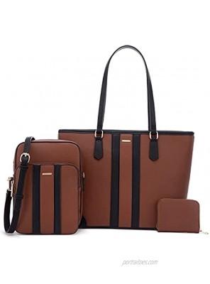 Lovevook Purses and Crossbody Bags for Women Fashion Tote Handbags Work Shoulder Bag Satchel Purse Set 3pcs