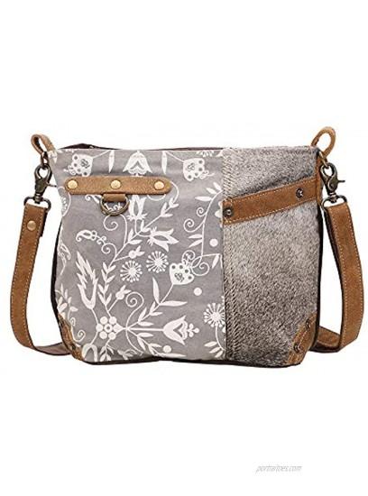 Myra Bag Dove Upcycled Canvas & Cowhide Shoulder Bag S-1448