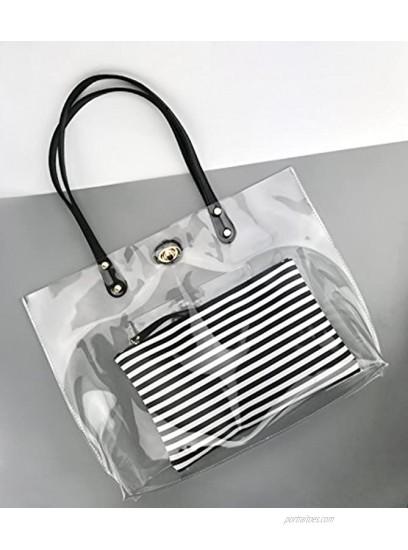PVC Clear Women's Tote With Striped Zipper Clutch Weekender Shoulder Handbag